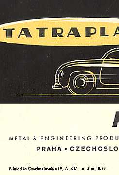 tatra t 600 tatraplan prospekt 1949. Black Bedroom Furniture Sets. Home Design Ideas